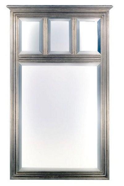 Espejo cuadrado con 3 lunas en plata
