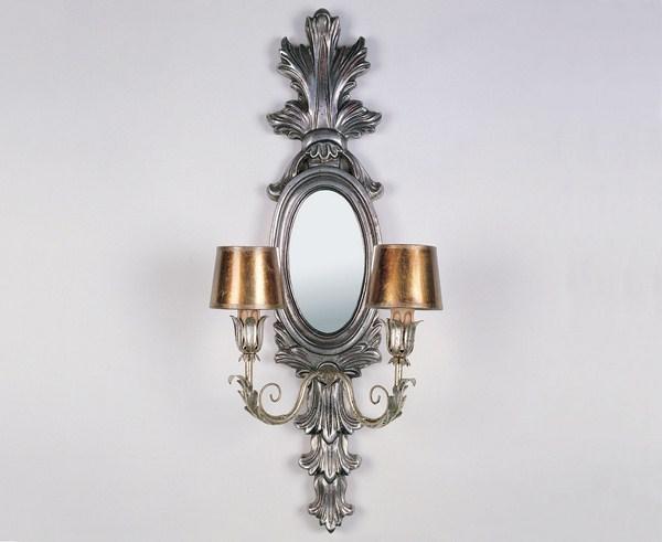Aplique espejo 2 luces plata
