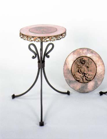Velador forja bajo hierro tapa decorado en plata